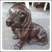 Home Garden Animal Customized Small Cast Bronze Dog Figurines
