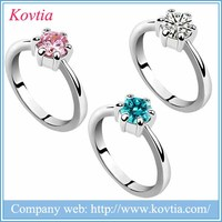 2017 New Products Jewelry Beauty Zircon Ring Pink Crystal Emerald Solitaire Finger Rings