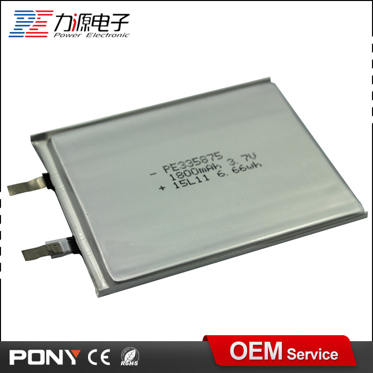 China manufacturer ultra thin 3.7v 1800mAh rechargeable li-polymer battery