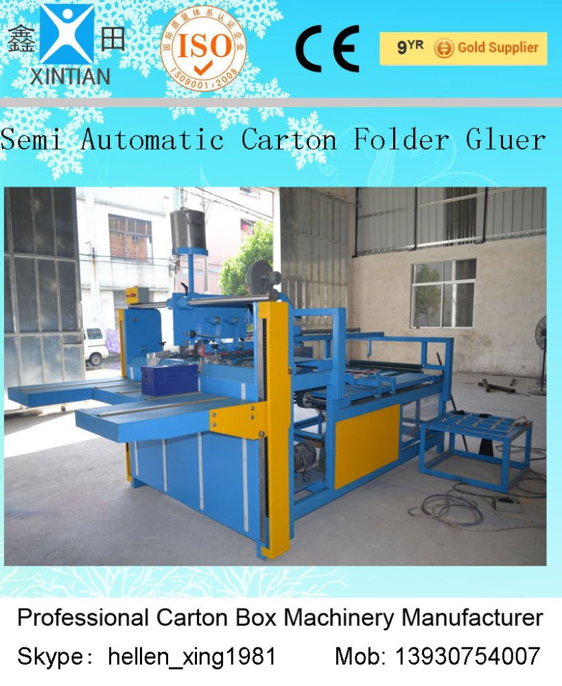 New Condition Carton Box Making Machine&Semi-Auto Carton gluing floding machine and hand movement