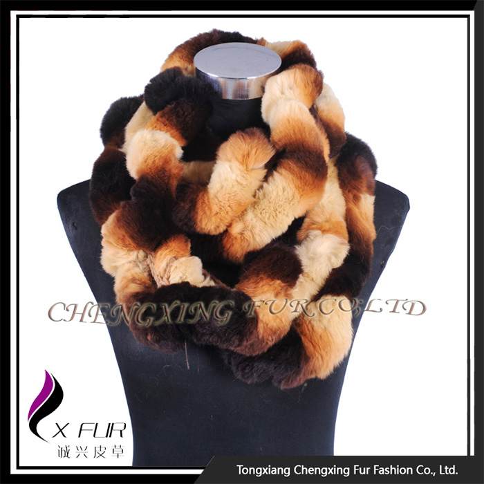 CX-S-172B New Design Fashion <strong>Excellent</strong> Winter Long Rex Rabbit Fur <strong>Muffler</strong> Scarf