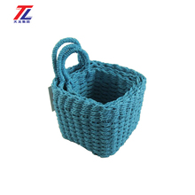 eco-friendly paper rope handmade weaving christmas decorate flower basket with hanging
