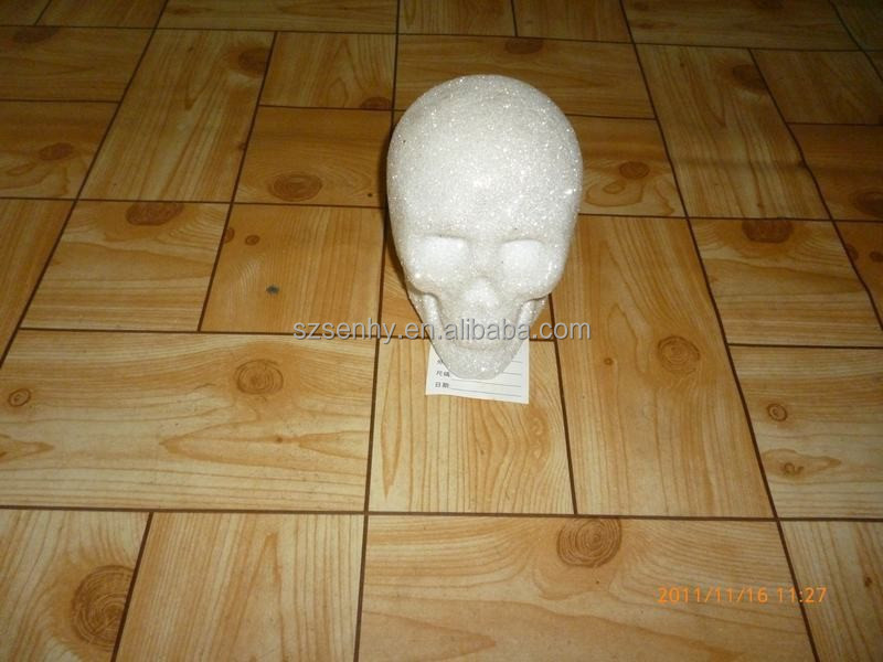 Big Glitter White Plastic Halloween Skull Head