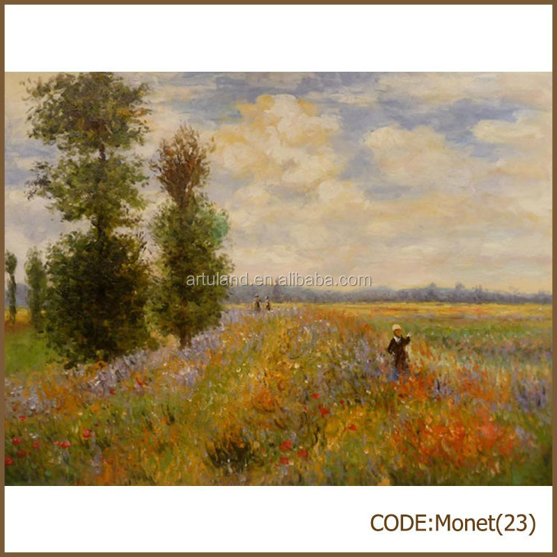 Monet oil master scenery bedroom oil painting reproduction of Poppies at Argenteuil