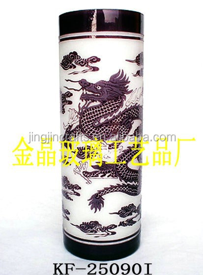engraved handmade elegant exquisite 2014 popular glass pen holder with traditioal Chinese style