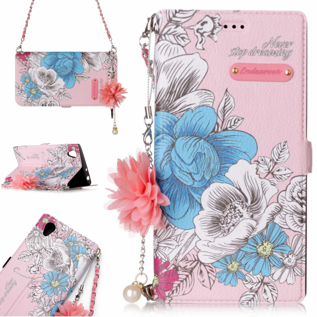 Wholesale flowers painted with flower pearl lanyard and chain leather wallet <strong>phone</strong> case for Sony <strong>L1</strong>