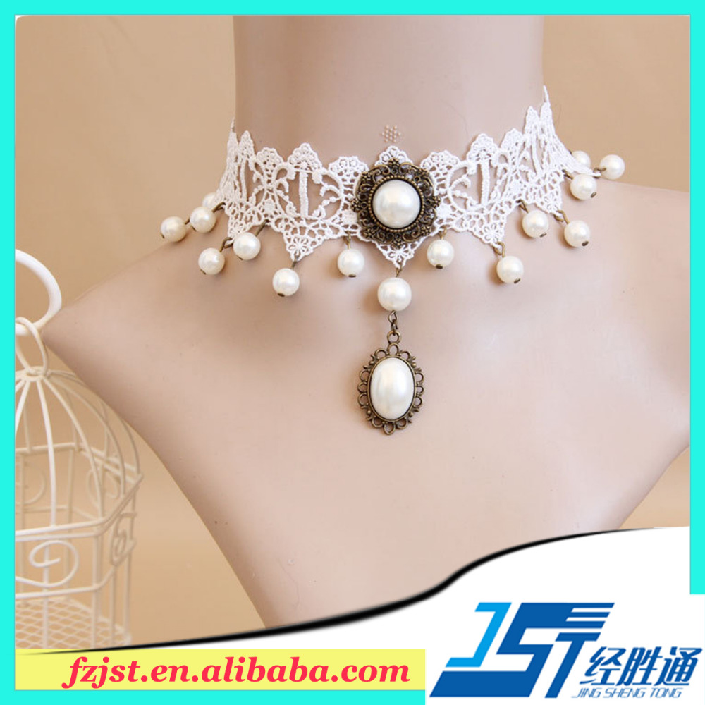 Cheap fancy handmade gift lace artificial necklace and earring sets