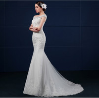 2015 the latest design off shoulder fishtail slim maxi beaded bride wedding dresses