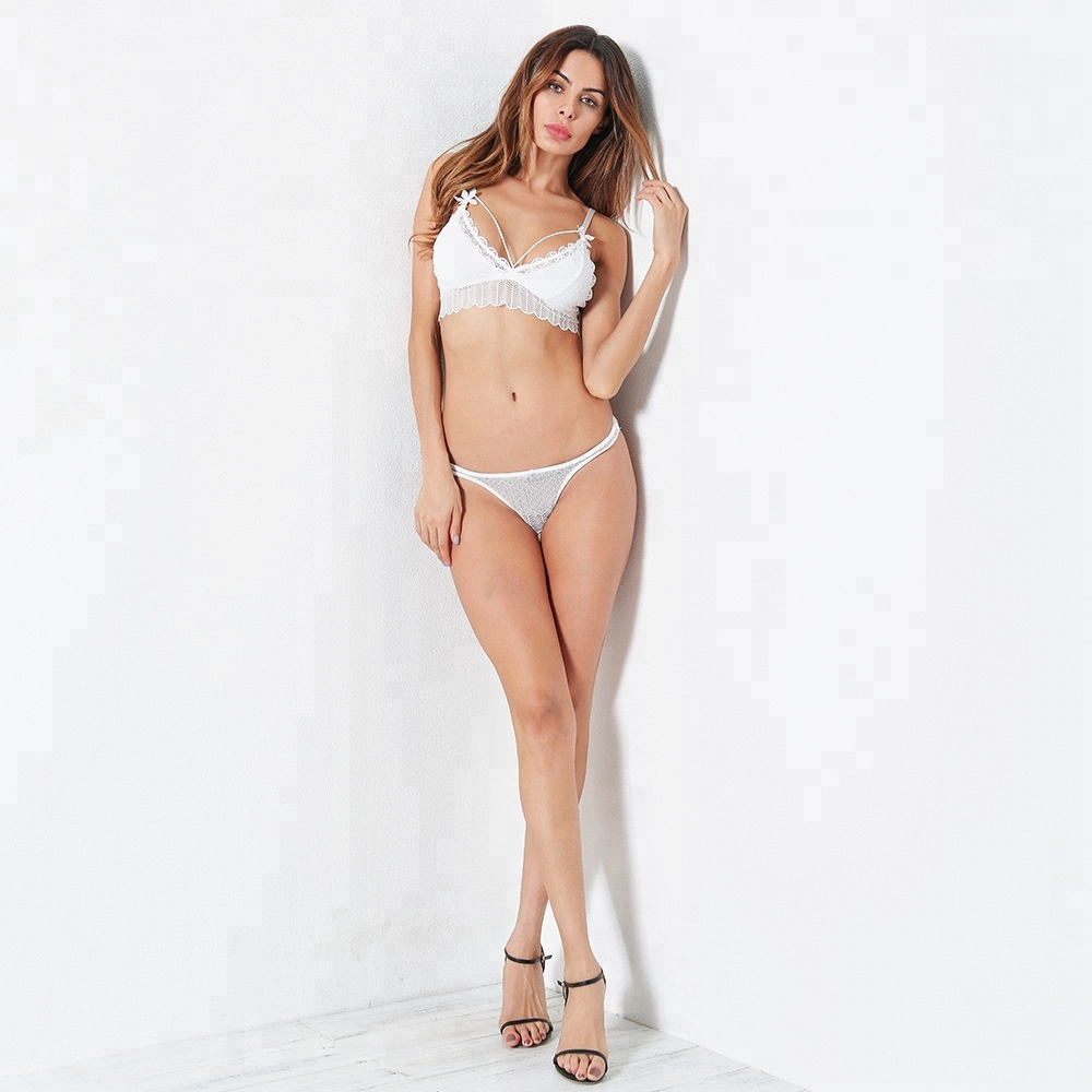 Hot sell <strong>Sexy</strong> Transparent Wearing Lace Underwear for Women Lingerie Set