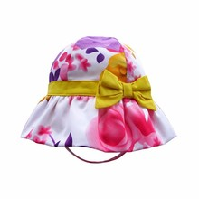 children kids outdoor floral printed boonie hat with bowknot ribbon