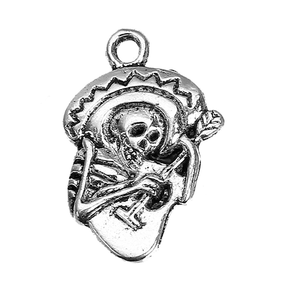 Zinc Based Alloy Day Of The Dead Charms Sugar Skull Guitar Antique Silver 22mm x 15mm