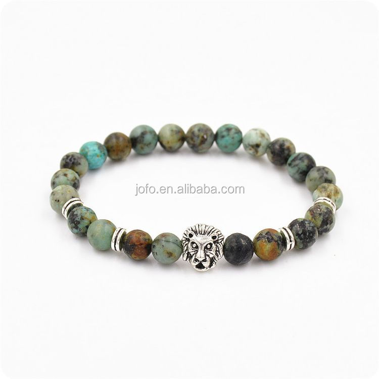 2017 Hot Sell 8mm AFRICAN TURQUOISE Round Gemstone Beads Silver Lion Head Stretch Bracelets