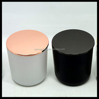 8oz frosted color glass canle jar with rose gold metal lid