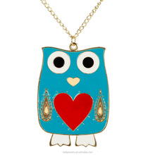 Blue heart design owl necklace , alloy owl necklaces, gold chain owl pendant necklace jwelry