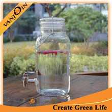 3.8L Glass Beverage Dispenser Container With Clip Lid and Tap