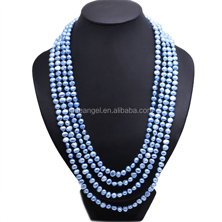 Natural 7-8mm Blue Freshwater Cultured Potato Shape Pearls Necklace <strong>100</strong> inches
