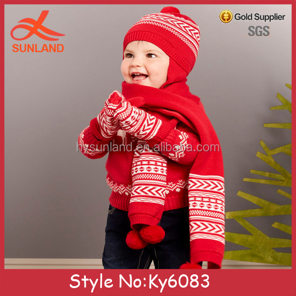 Rayon Material and red Wrap Scarf beanie hat gloves set knit wrap shawl scarf cap gloves children knitted scarf mittens hats