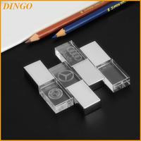 Crystal USB Flash Drive with 3D Logo Laser Printing USB 2.0 4GB 8GB 16GB 32GB Memory Stick Pen Drive Gift box