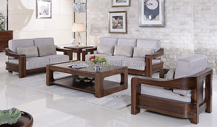 American style black walnut furniture sofa set, Noble solid wood living room fabric sofa(BF01-X1068)