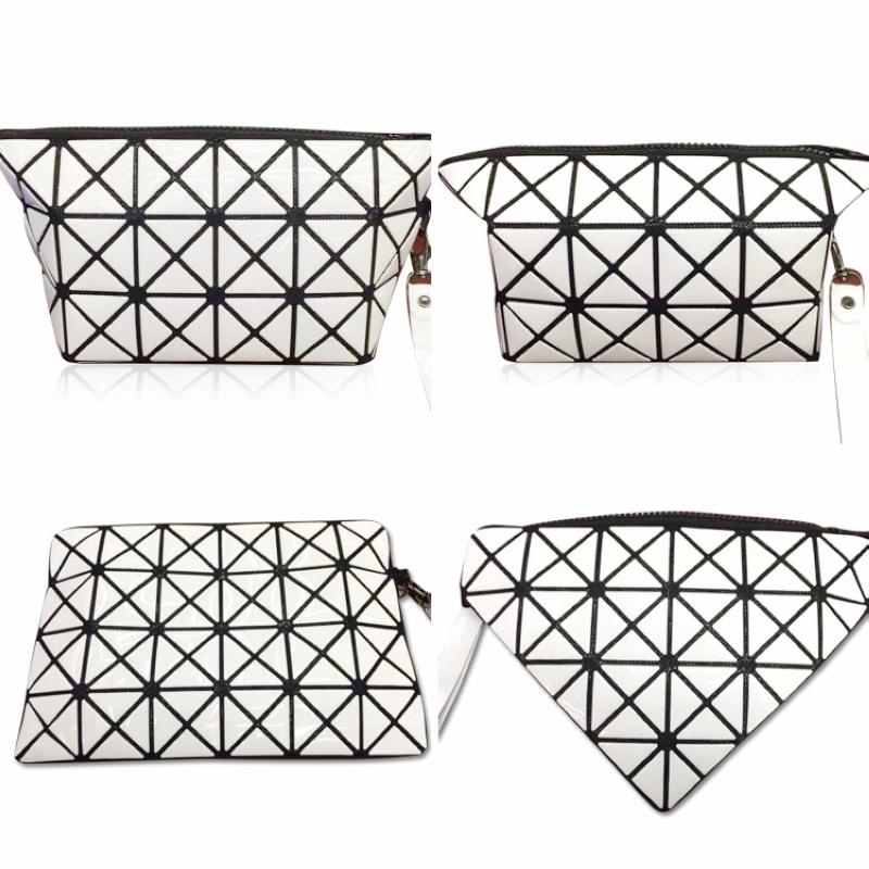Grid Style Shape Changeable rhombic geometry cosmetic bag For Ladies