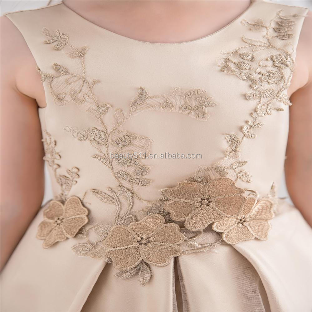 2018 flower pattern boutique outfits girl casual dress lace flower gold stain layers princess wedding flower girl dresses