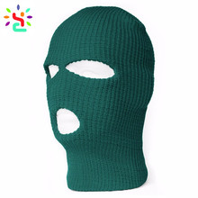 Custom 3 Hole Ski Mask Warmer Full Face Mask Knitted Balclava Winter Beanie Hats Private Lable Outdoorsmen Hat Cap