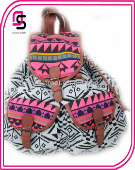 Hot Pink Aztec Canvas Backpack