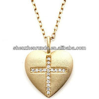 "Heart Pendant with CZ-Accented Cross Design and 18"" Cable-Link Chain Christmas vners pendant Manufacturer & Factory & Supplier"
