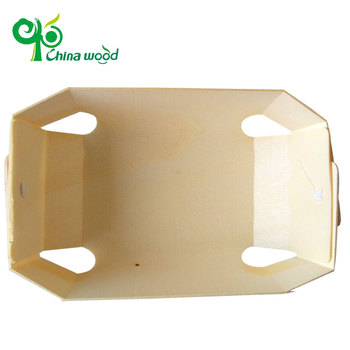Eco-friendly Poplar Round Wood Bark Box For cake