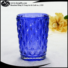 China supply Factory price heat blue resistant glass candle holder