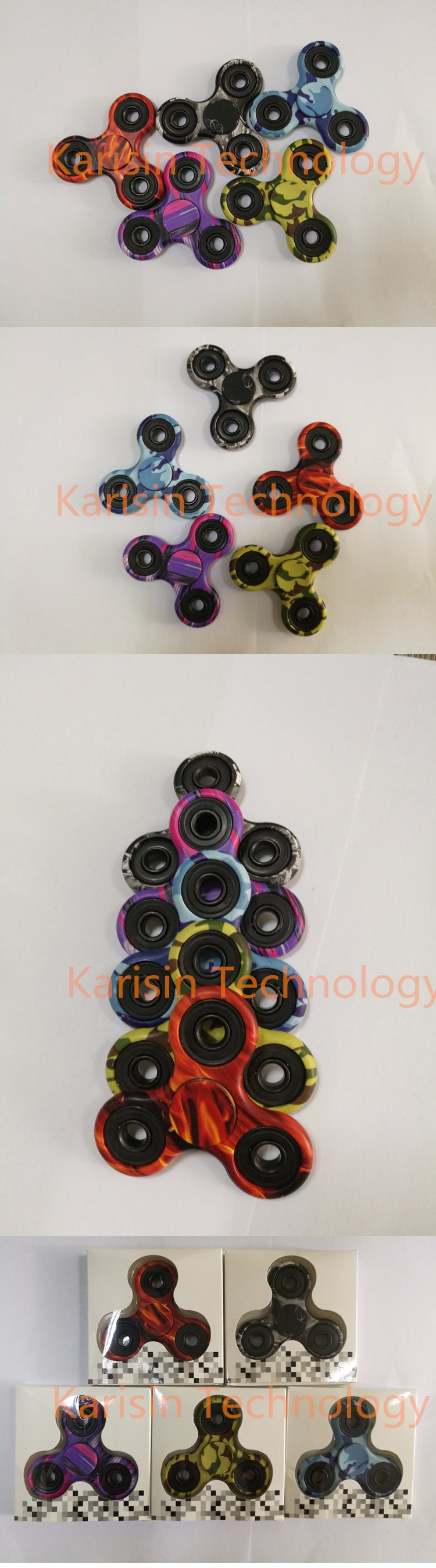ABS Triple sides Hands camo color fidget spinners-cheap spinner with long time spin
