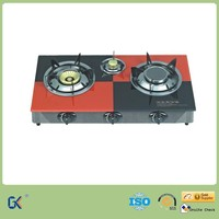 Household 3 Cast Iron Burner infrared Gas Stove with Glass Top