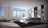 2016 Modern Style White Leather S Shaped Double Bed Used For Bedroom