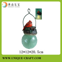 polyresin bird solar lighted hanging Christmas decoration