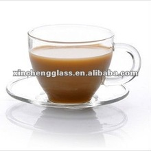 100ml 2012 new design crystal drinking hand-made clear glass hot coffee cup with handle and