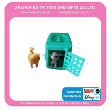 baby toy mini cat toy play set PVC animal &animal cage promotion gift