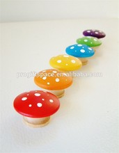2017 Eco Friendly Set Of 6 Wooden Toadstools Rainbow Mushrooms made in China