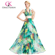 Grace Karin 2016 Halter V-Neck Flower Pattern Chiffon Long Prom Dress GK000034-1