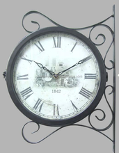 Train Railway Station Style Round Double Side Two Faces Wall Hanging Clock with Scroll Wall Side Mount