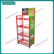 supermarket wholesale pos metal wire display stand/snack display racks/potato chip display shelf