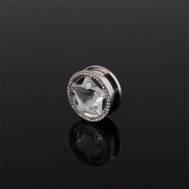 Fashion large diamond clear cz star crystal rim ear plugs screw fit flesh tunnel