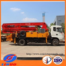 Truck-mounted concrete forced mixer and boom pump line with low noise and factory price for sale