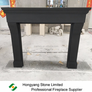 New material black sandstone dark stone fireplace