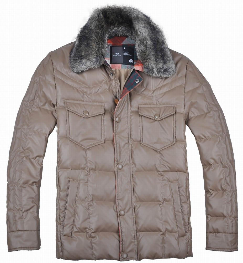 Latest New Mens Winter Fur Collar Thick Padded Down Jacket Leather