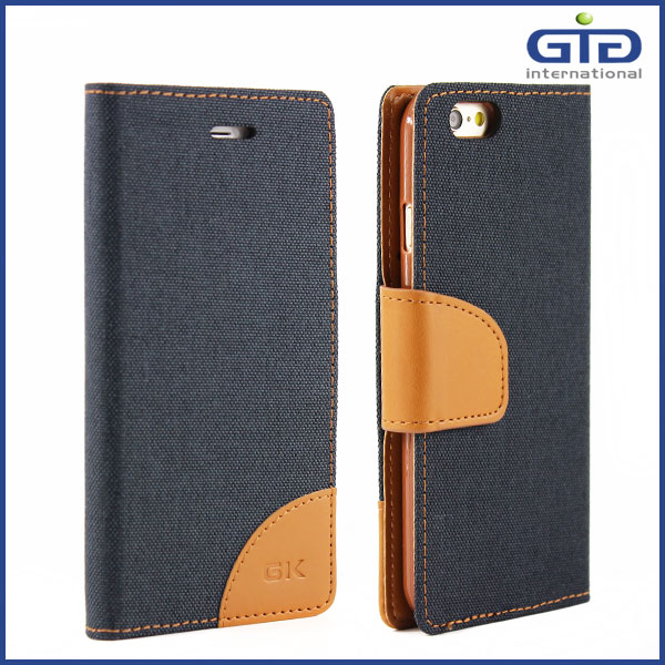 [GGIT] Factory Suppler Jeans Wallet PU Leather Cell Phone Case with Card Slots for iPhone 6