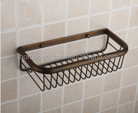 Brass Antique Bathroom soap Wire Basket Storage Shelf