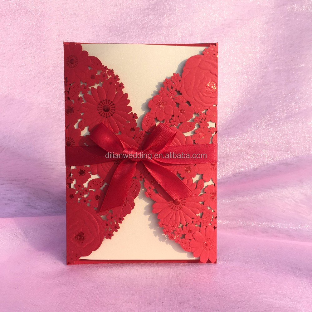 Nice Embossing Flower Wedding Invitations With Ribbon Bow - Buy ...