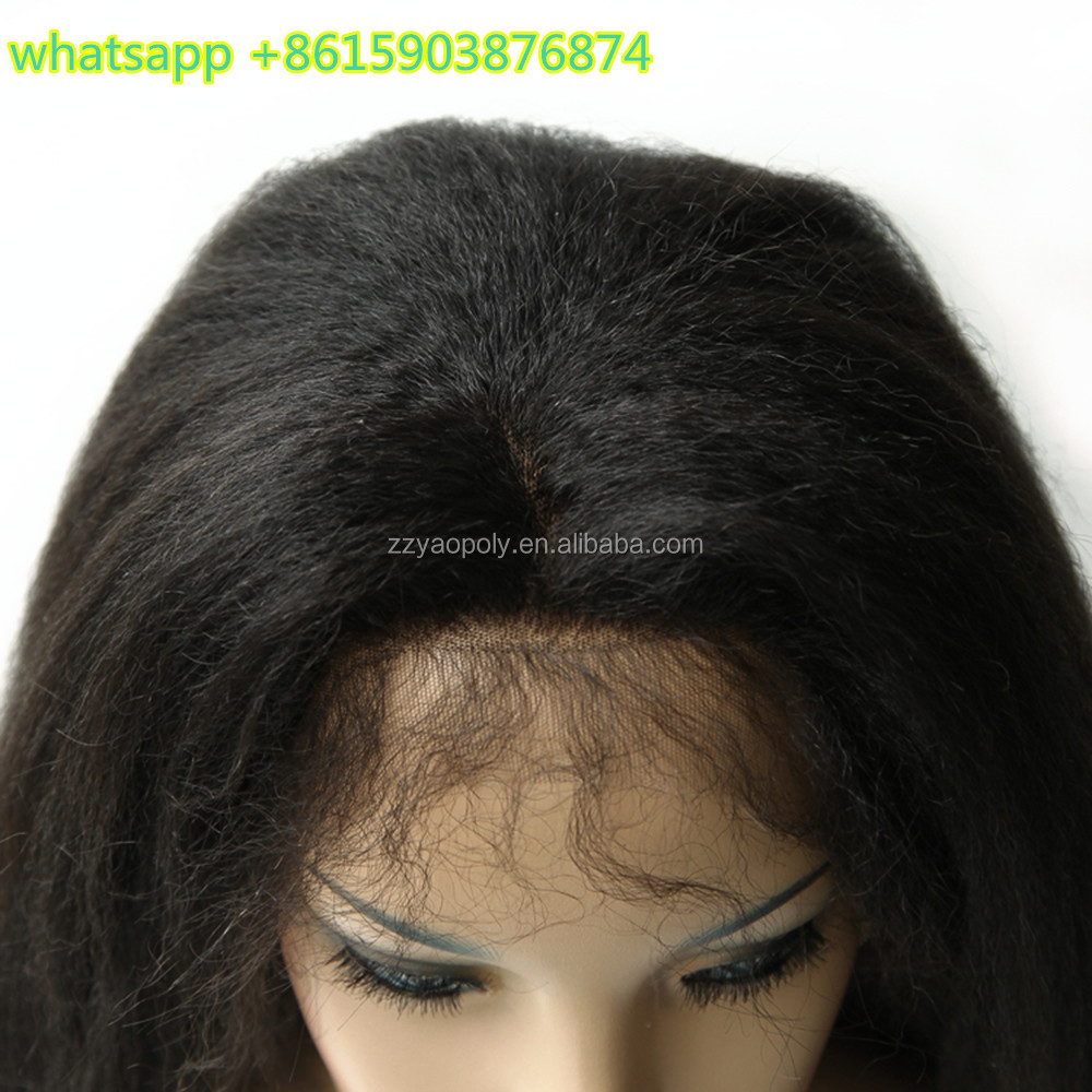cheap 18 inch #1b kinky straight front lace brazilian human hair wigs with baby hair
