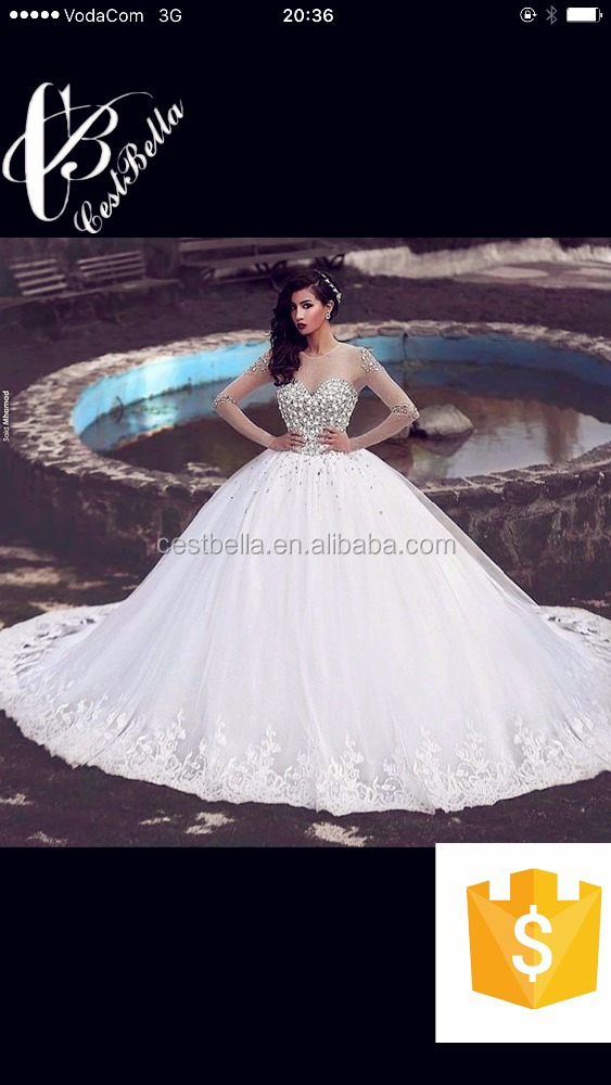 Long Sleeve Wedding Dresses with Rhinestones Crystals Ball Gown Elegant Arabic Dubai Bridal Gowns