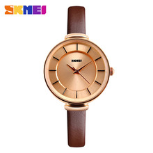 Gold and silver case genuine leather wrist watch for women